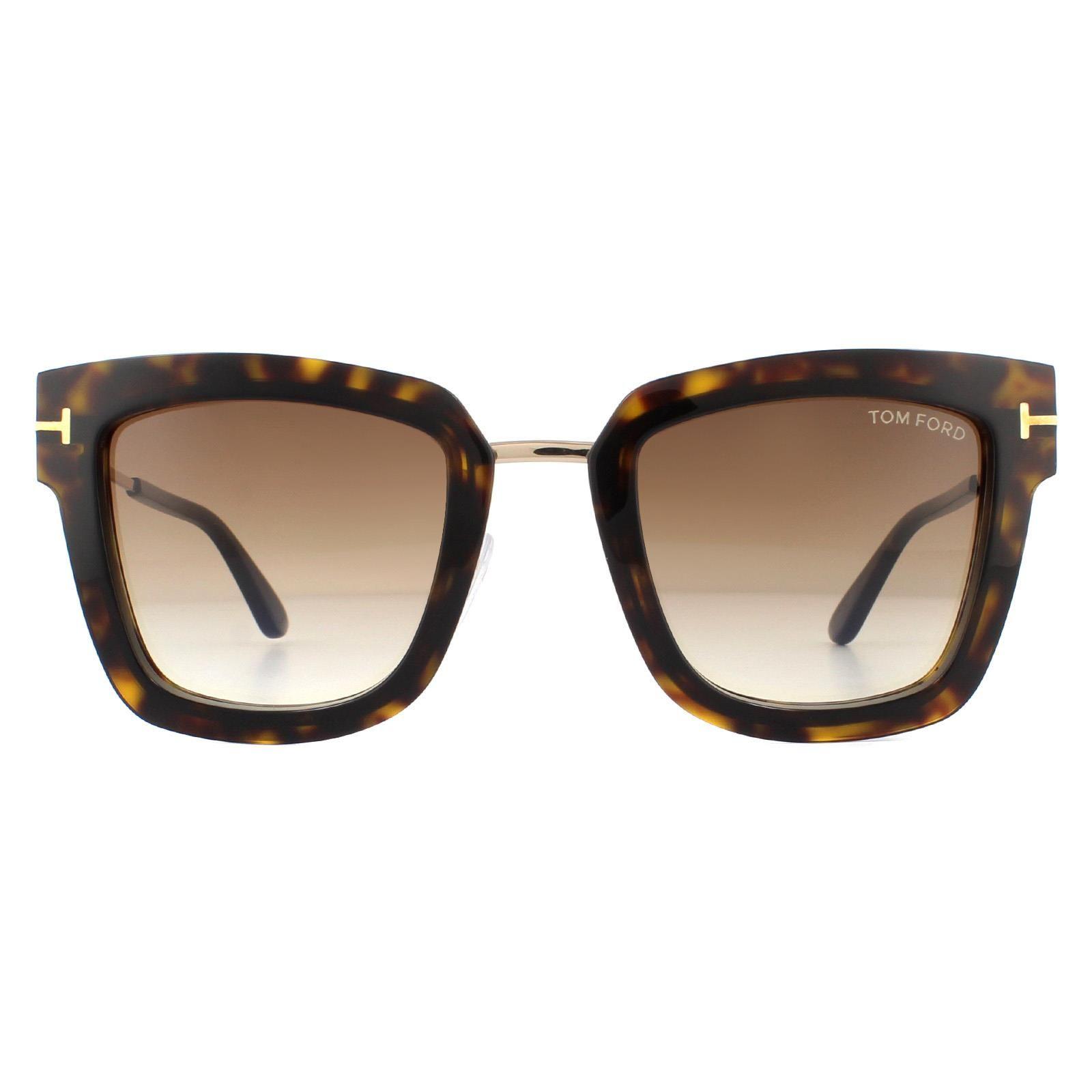 Tom Ford Sunglasses Lara FT0573 52F Dark Havana Rose Gold Brown Gradient