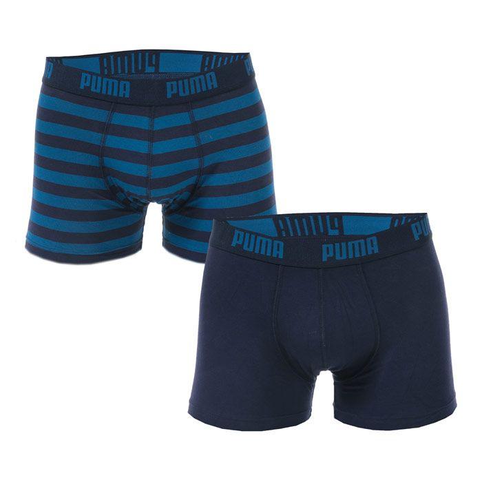 Men's Puma Striped 2 Pack Boxer Shorts in Blue