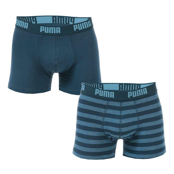 Men's Puma Striped 2 Pack Boxer Shorts in Denim