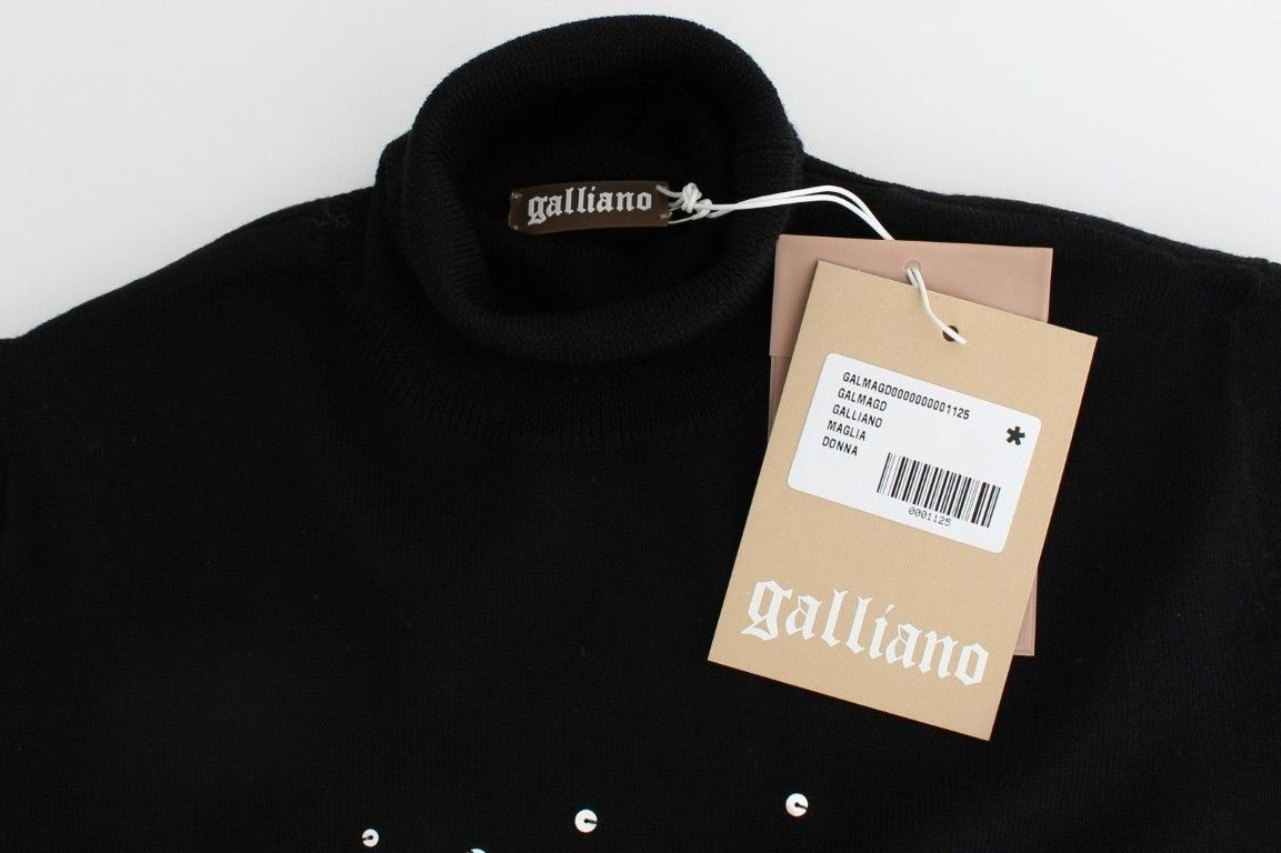 Galliano Black wool turtleneck sweater