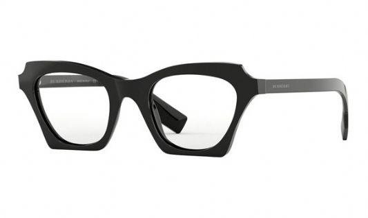 Burberry Cat eye plastic Unisex Sunglasses Black / Clear Lens