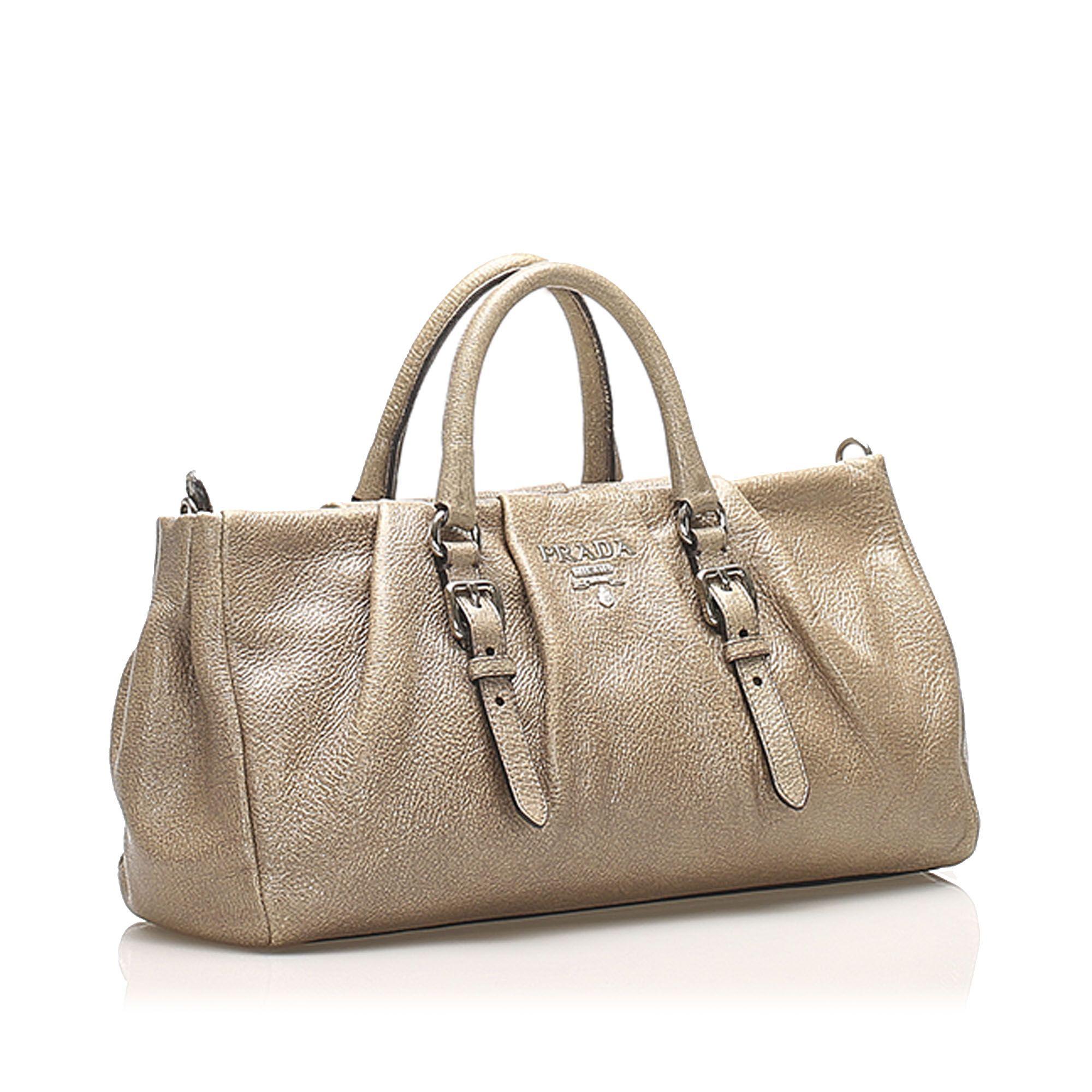 Vintage Prada Leather Satchel Brown