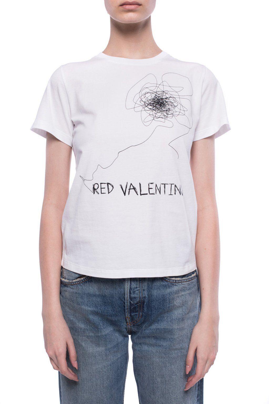 RED VALENTINO WOMEN'S TR0MG05A5510BO WHITE COTTON T-SHIRT