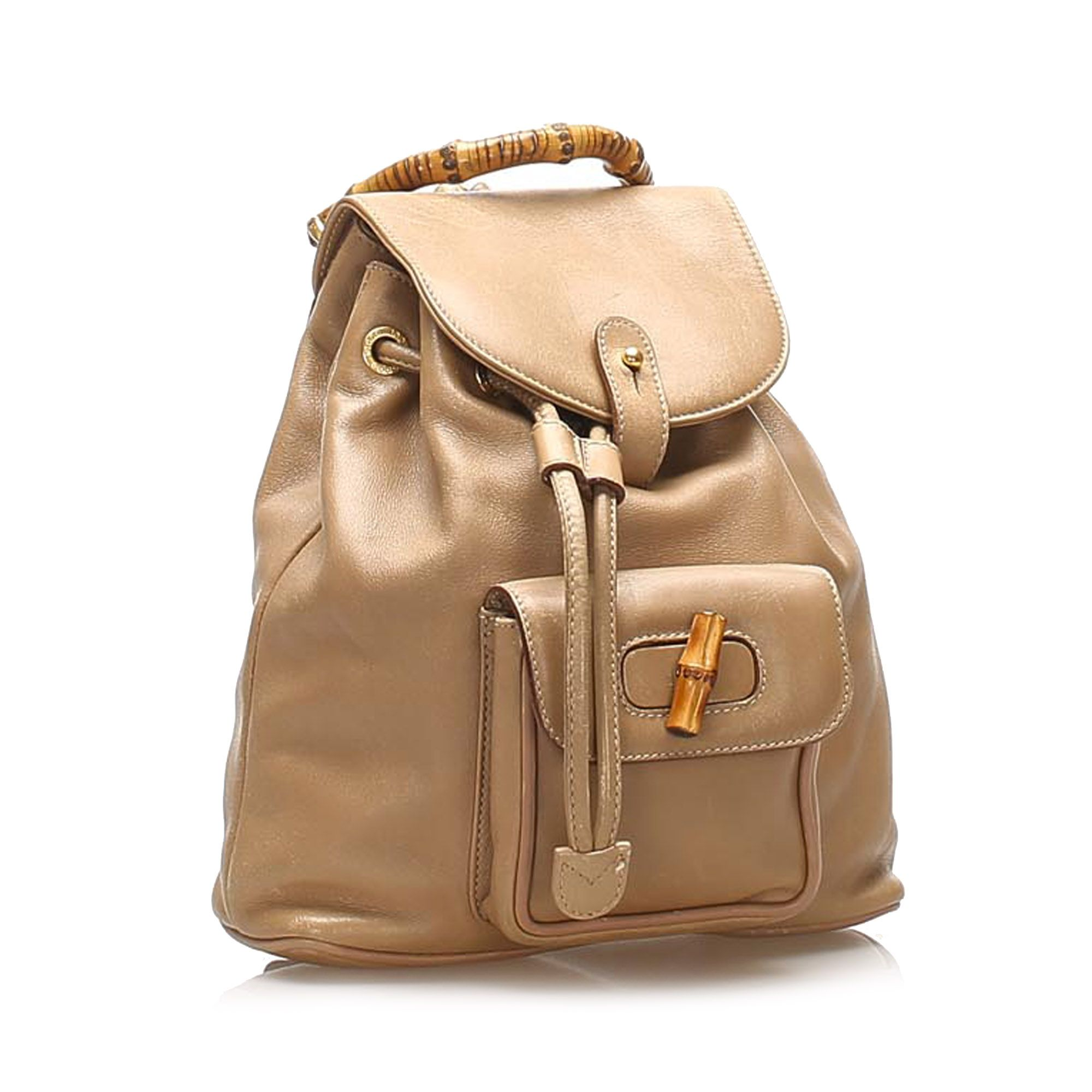 Vintage Gucci Bamboo Drawstring Leather Backpack Brown