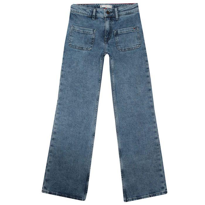 Girls' Tommy Hilfiger Junior Slouchy Flared Leg Jeans in Denim