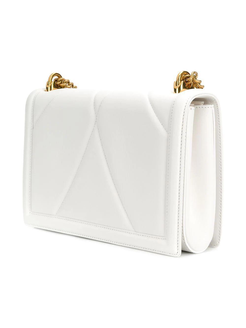 DOLCE E GABBANA WOMEN'S BB6651AV96780002 WHITE LEATHER SHOULDER BAG