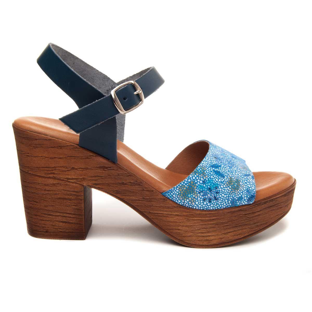 Purapiel Heel Sandal in Blue