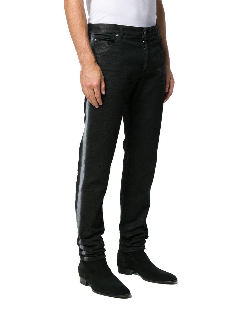BALMAIN MEN'S SH05291Z0170PA BLACK COTTON JEANS