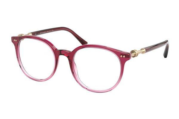 Bvlgari Round plastic Unisex Eyeglasses Violet / Pink / Clear Lens