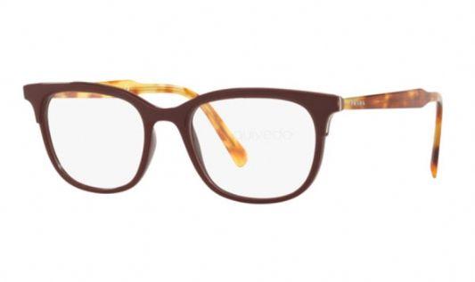 Prada Rectangular plastic Unisex Eyeglasses Bordeaux / Clear Lens