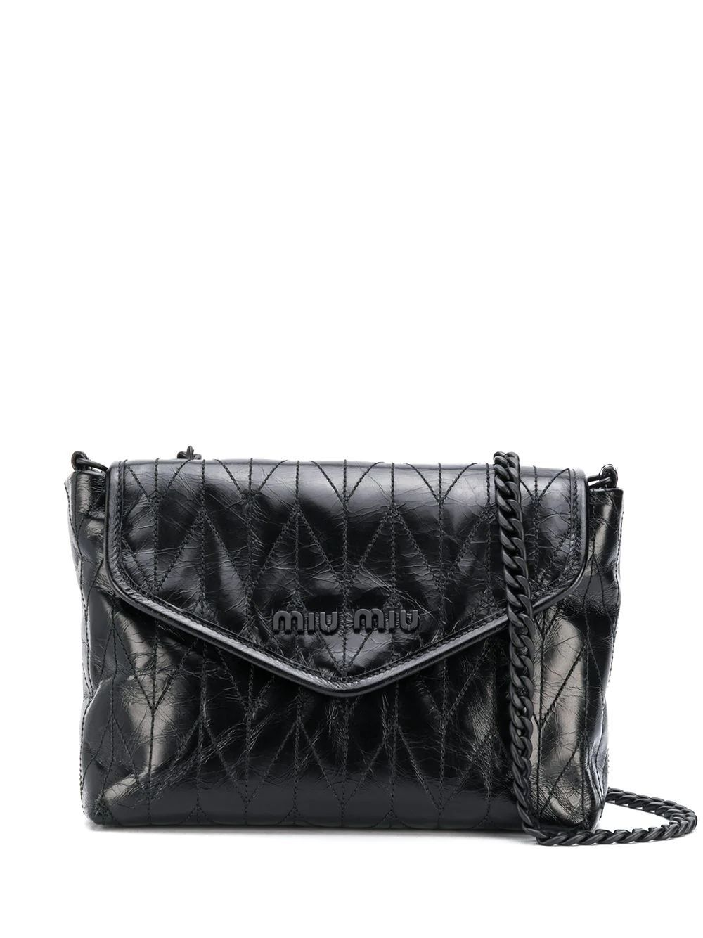 MIU MIU WOMEN'S 5BH1752D6CF0002 BLACK LEATHER SHOULDER BAG