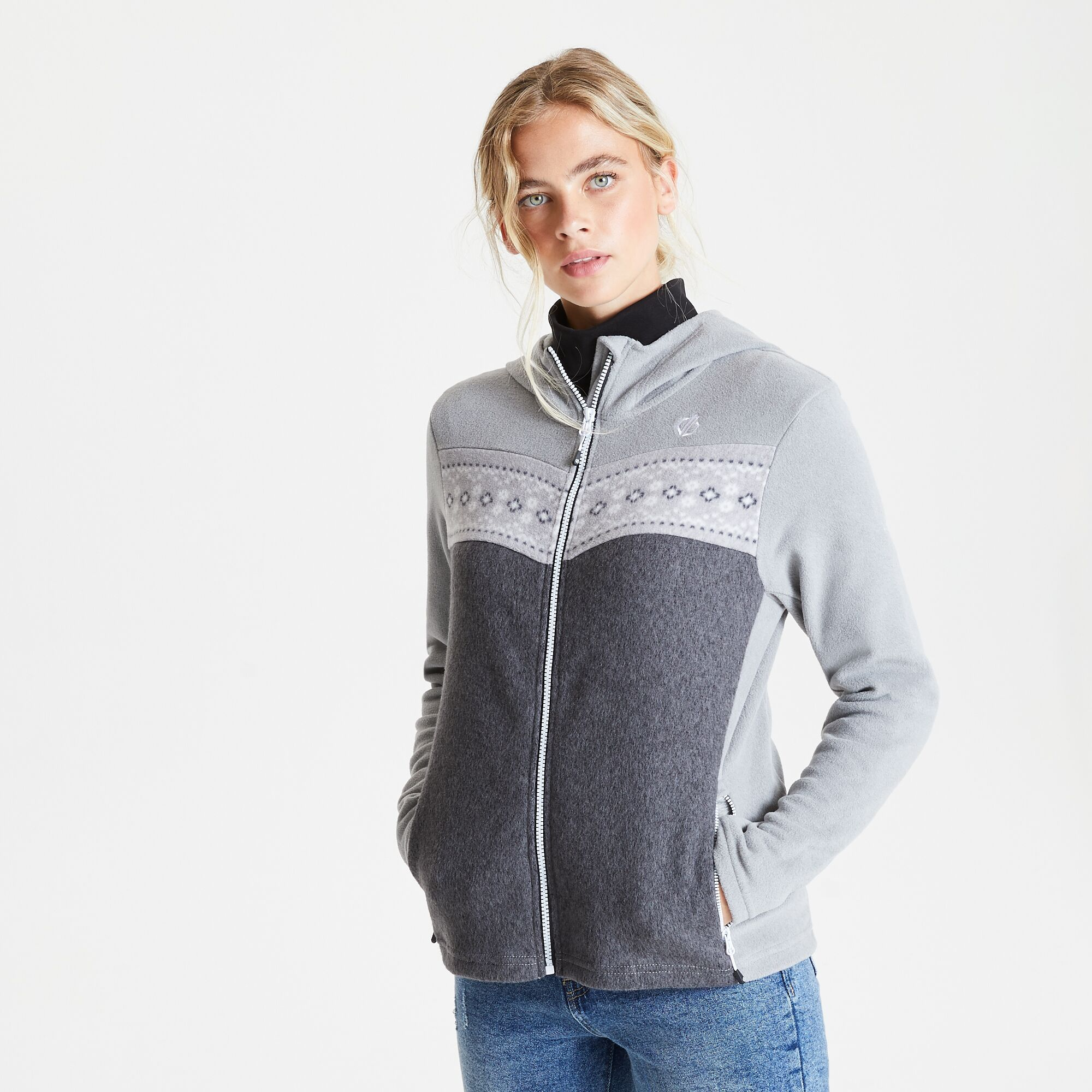 Dare 2b womens/ladies herald hooded fleece jacket (ash/charcoal grey)