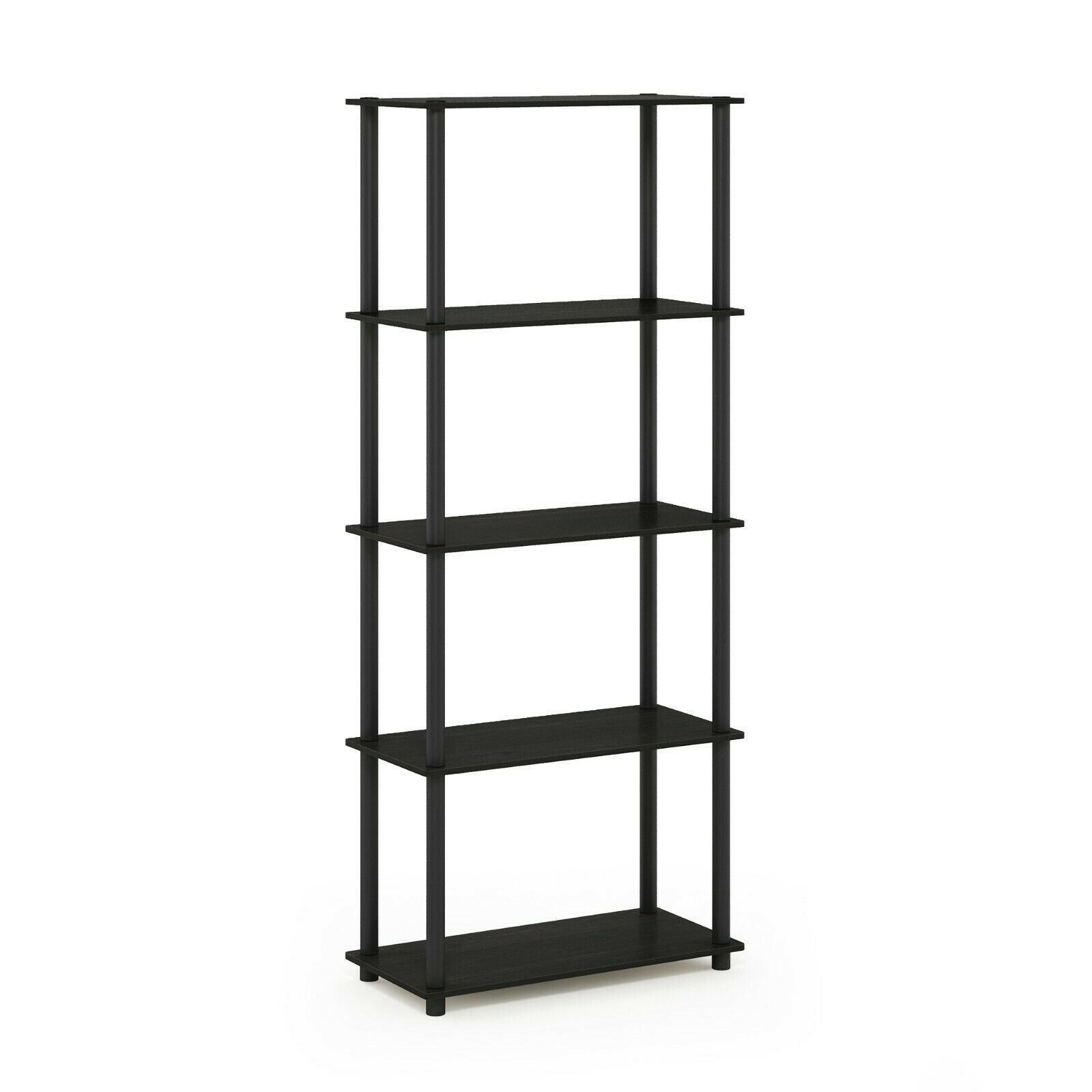 Furinno Turn-N-Tube 5-Tier Multipurpose Shelf Display Rack, Espresso/Black