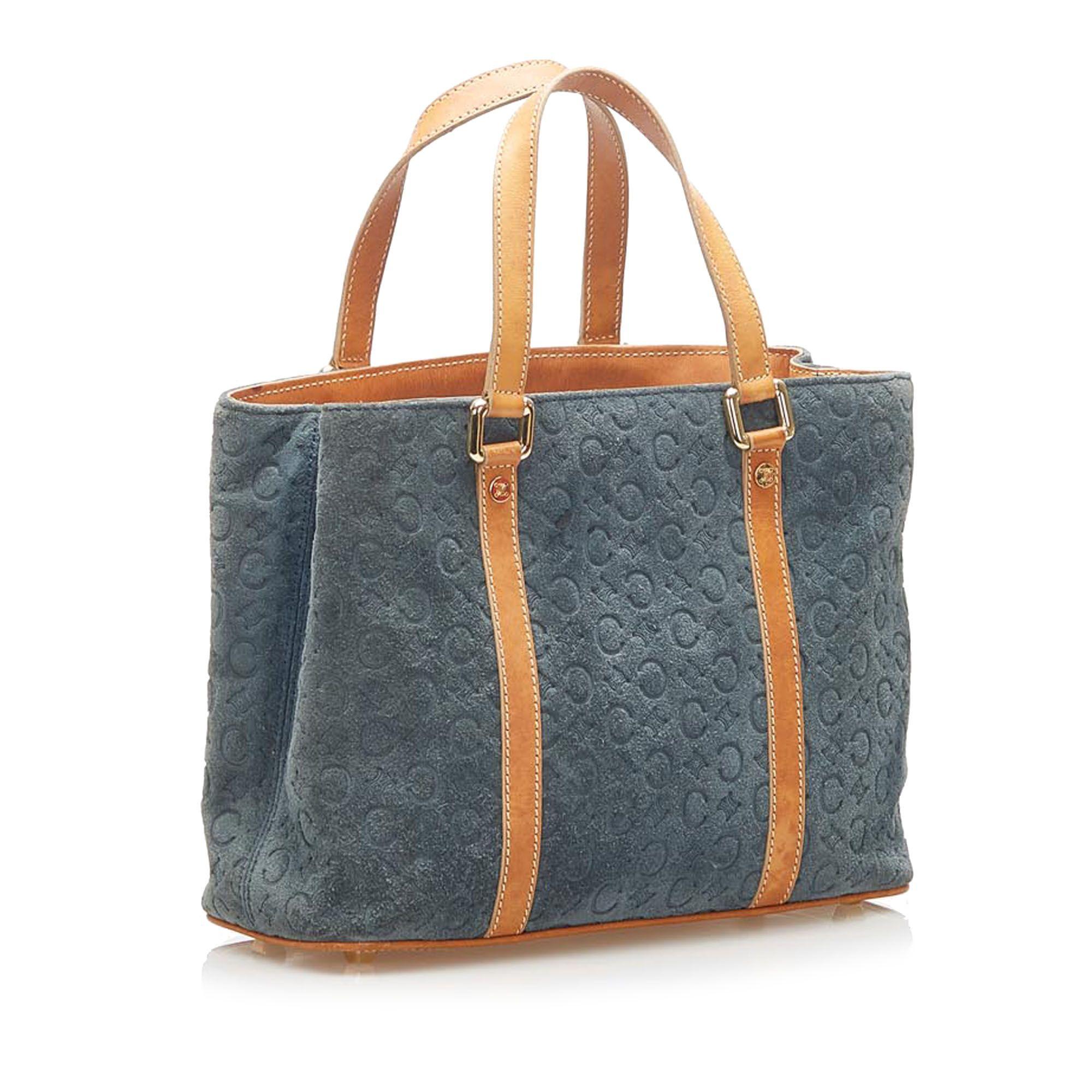 Vintage Celine C Macadam Suede Handbag Blue