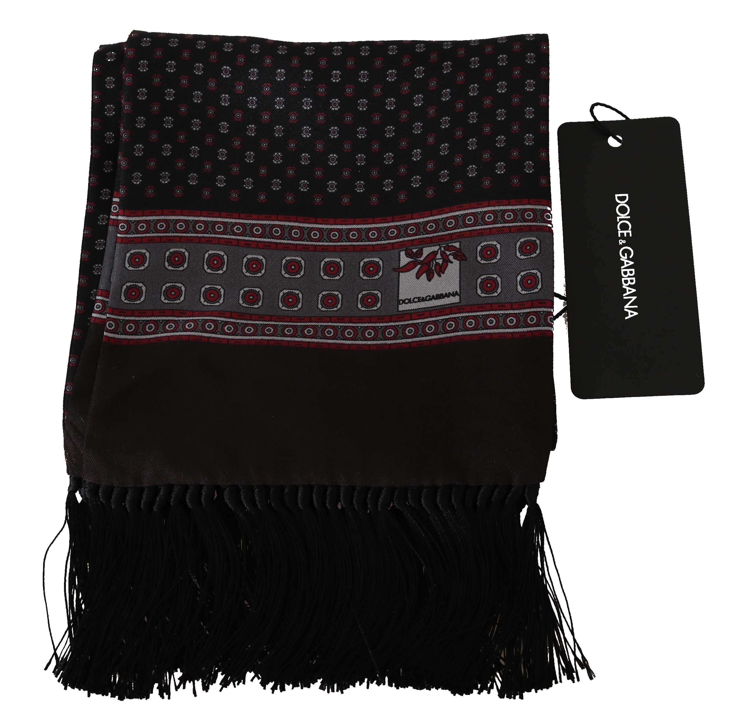 Dolce & Gabbana Brown Baroque Tassel Mens Silk Scarf