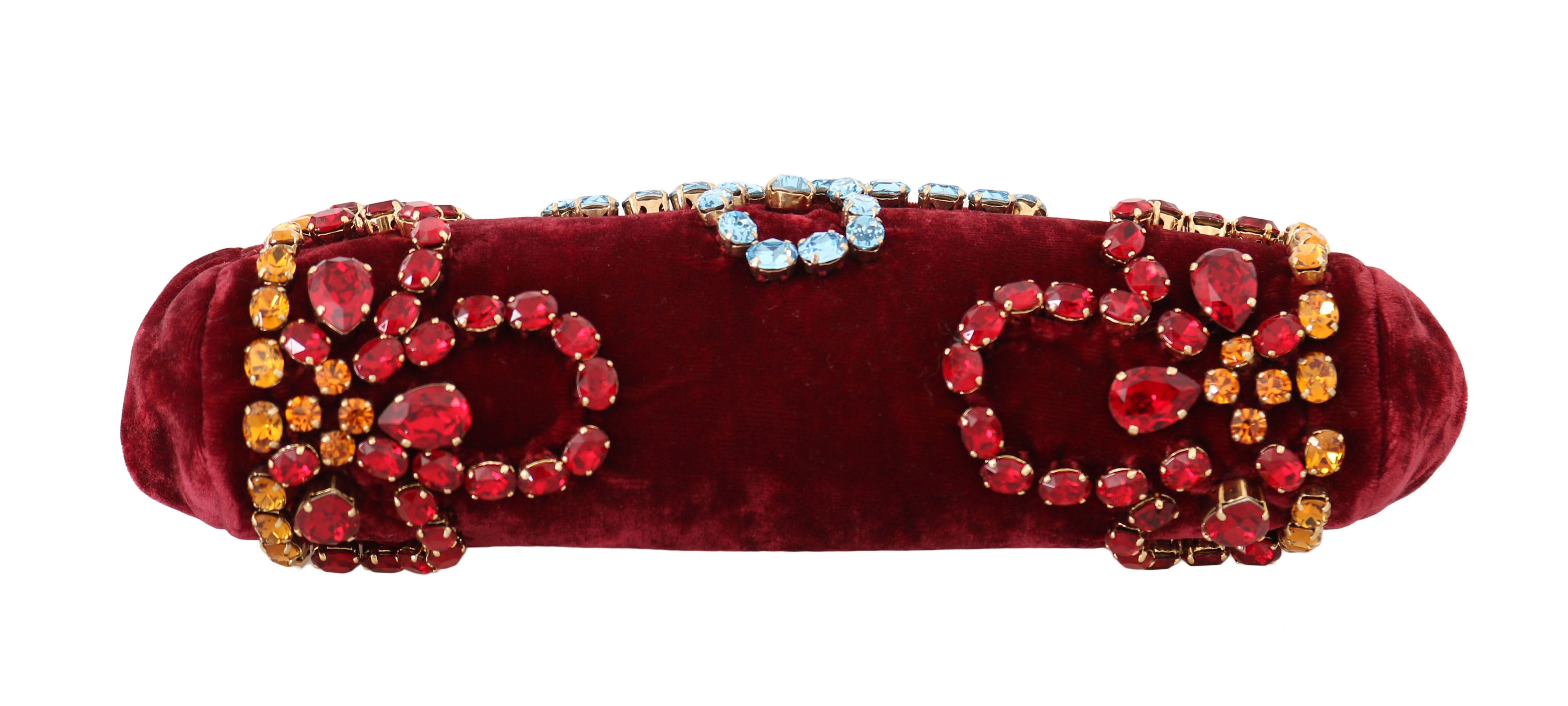 Dolce & Gabbana Red Velvet Gold Ricamo Crystal Party Clutch  Purse