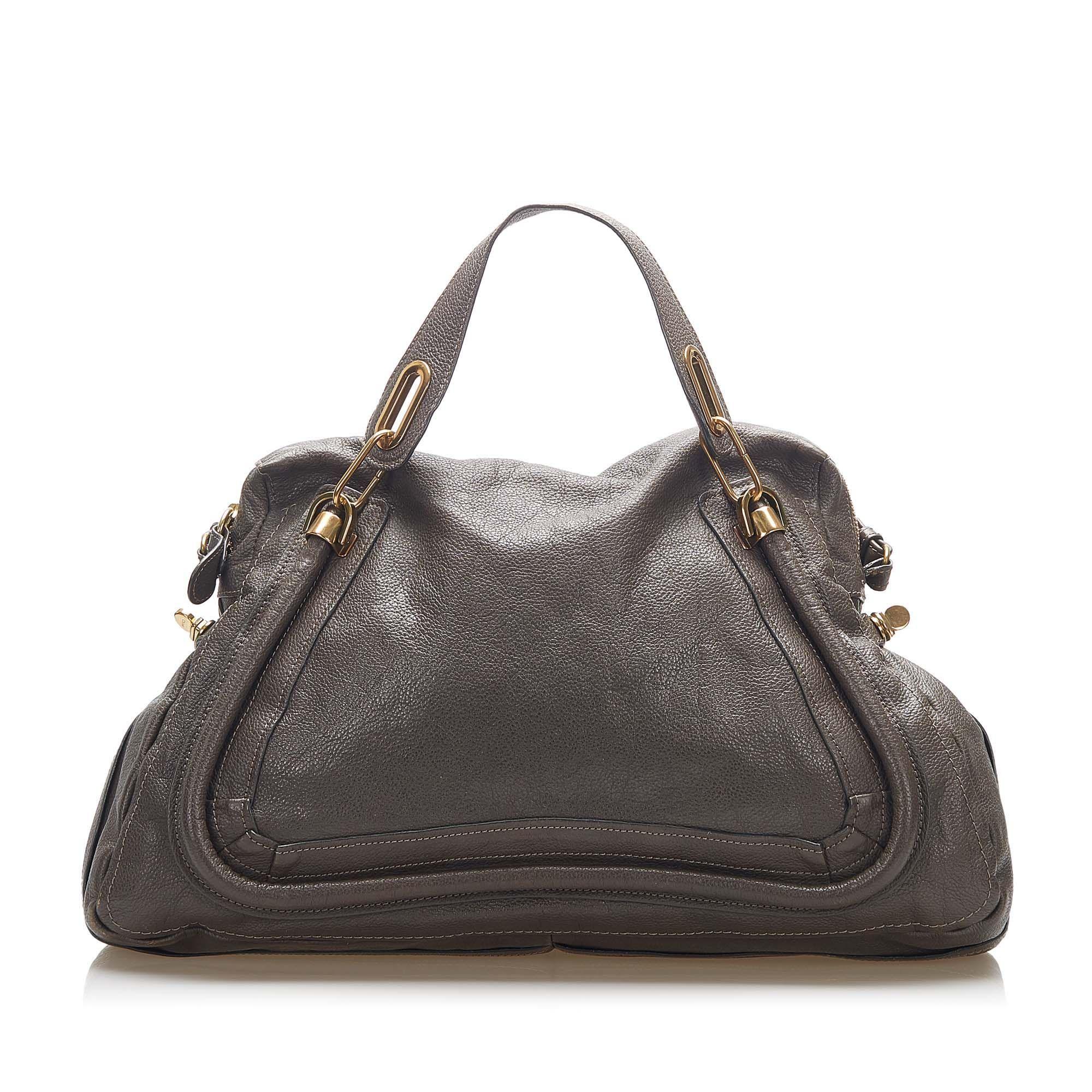 Vintage Chloe Paraty Leather Satchel Gray