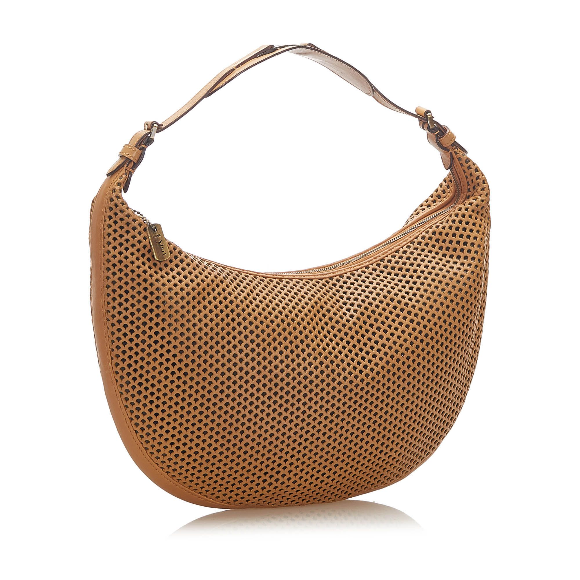 Vintage Dior Perforated Leather Hobo Bag Brown