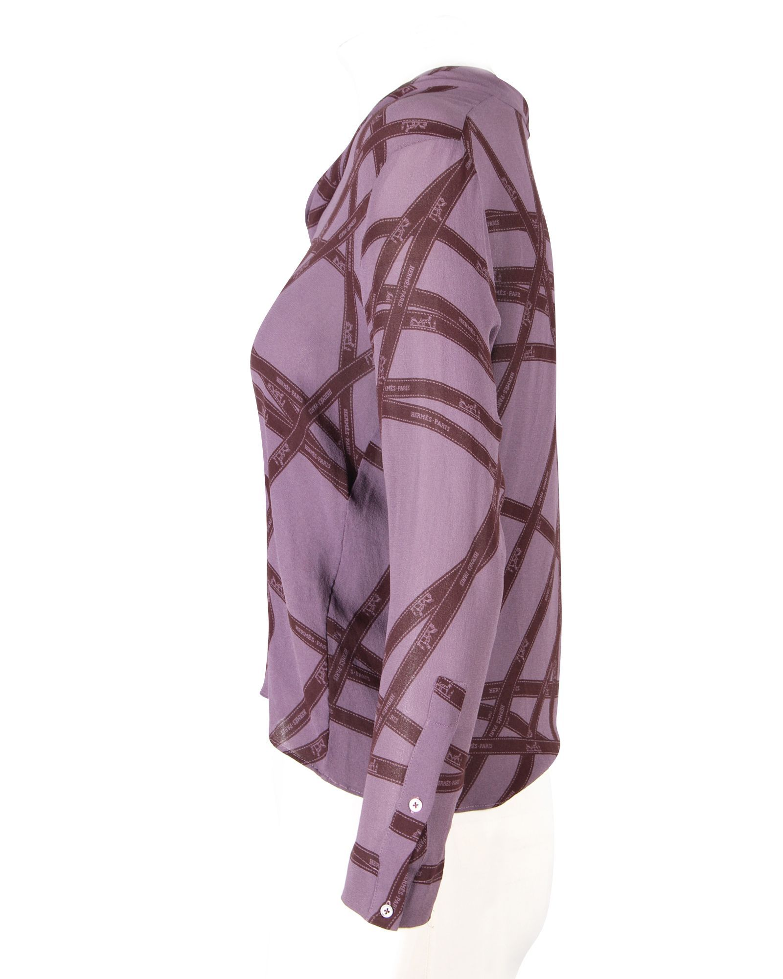 Hermès Purple With Ribbon Pattern -Pre Owned Condition Excellent