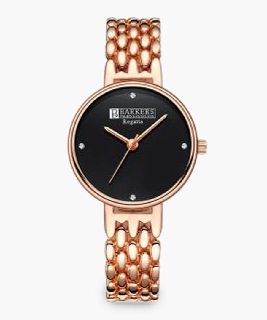 Regatta black and rose gold-plated watch