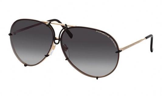 Porsche Avaitor metal Unisex Sunglasses Gold/Black / Grey Gradient