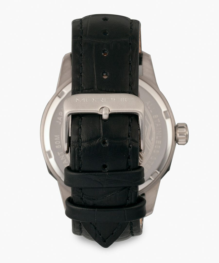 M56 Series leather and stainless steel analogue watch
