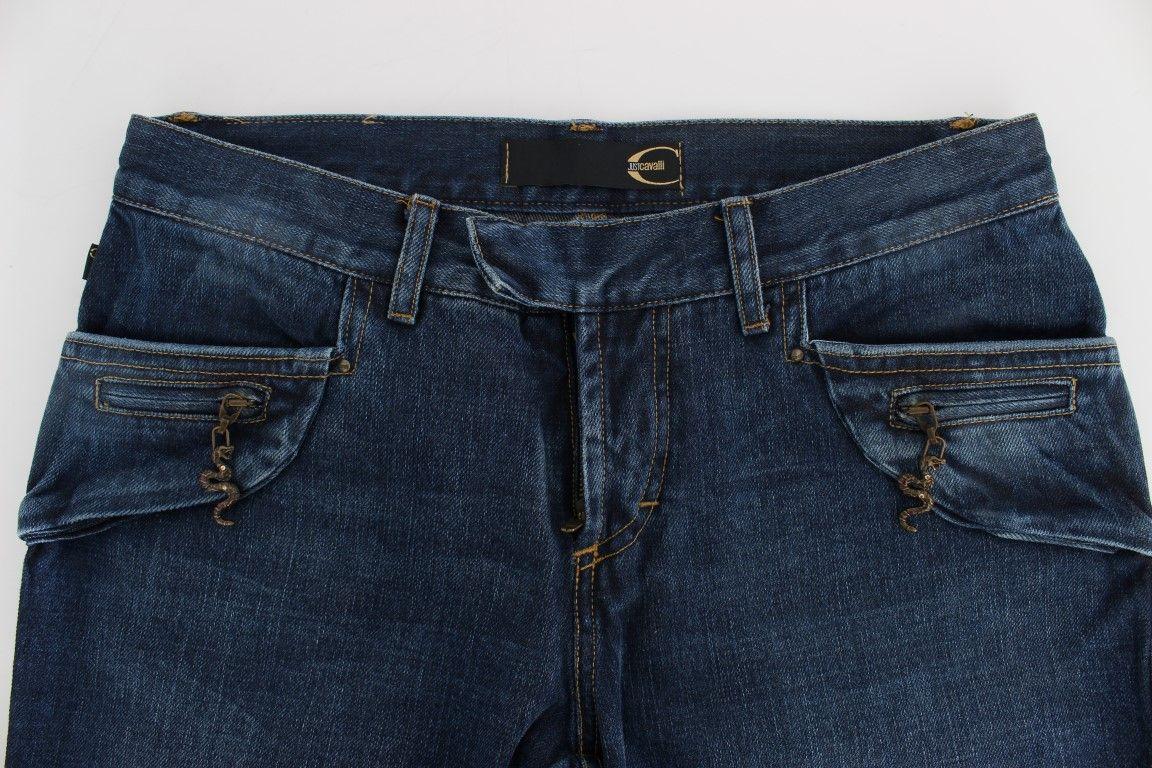 Cavalli Blue Cotton Slim Fit Jeans