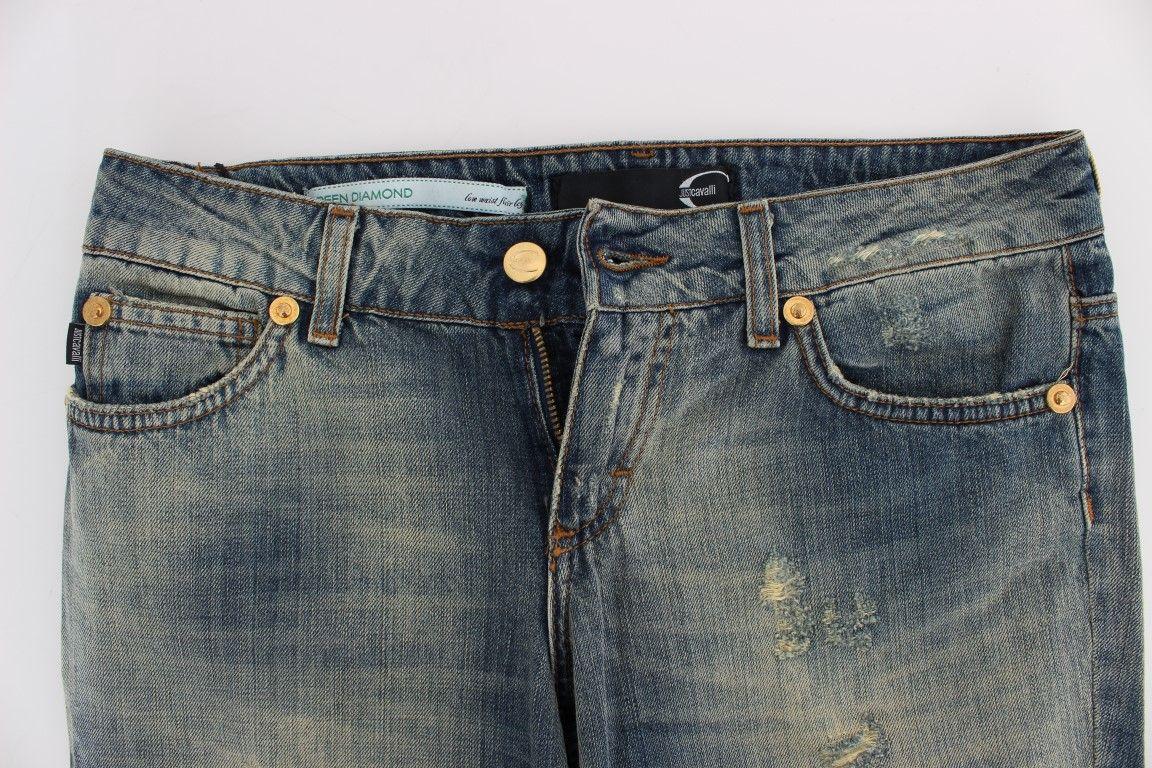 Cavalli Blue Cotton Low Waist Jeans
