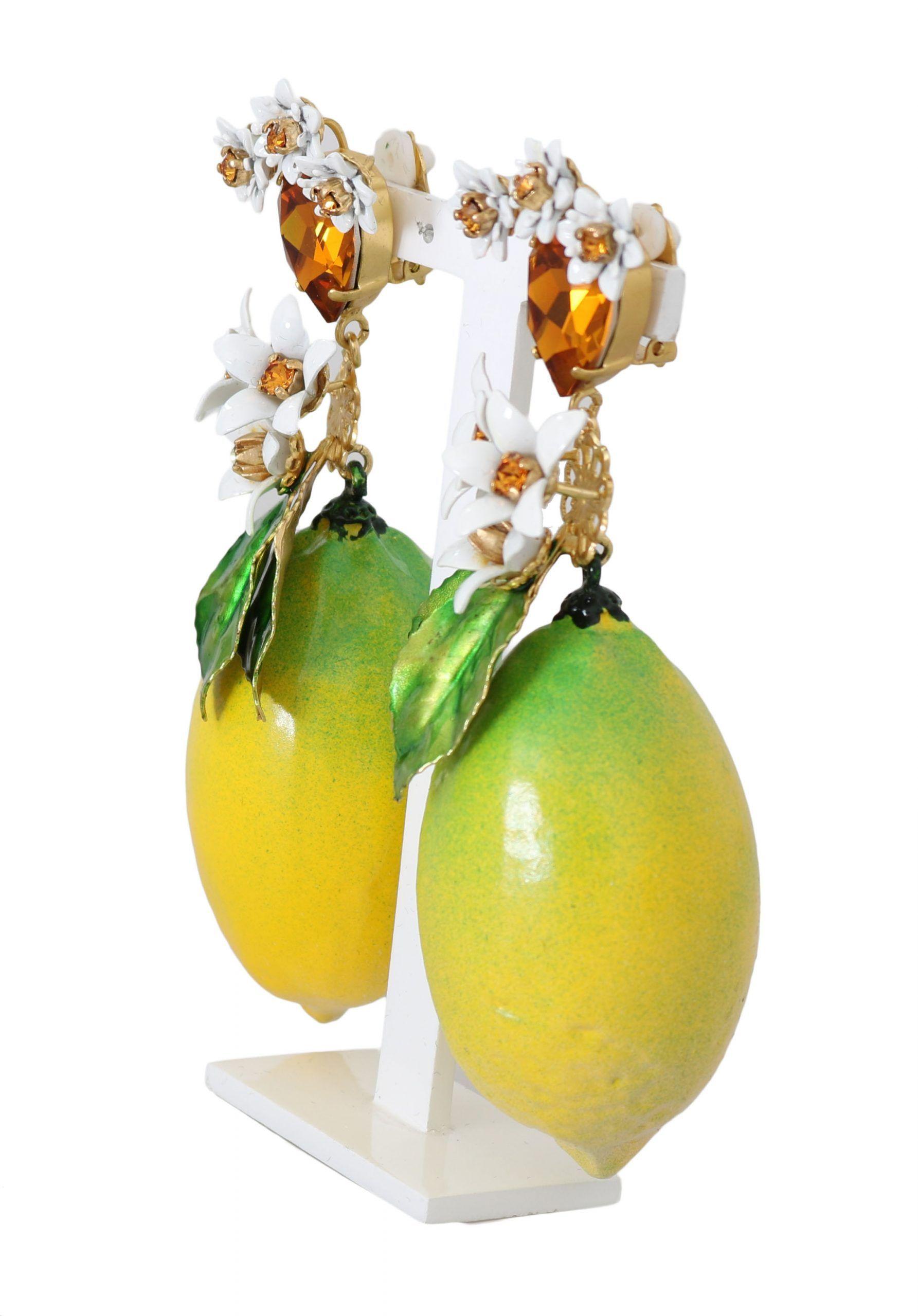 Dolce & Gabbana Gold Kristall LEMON Floral Clip On Ohrringe