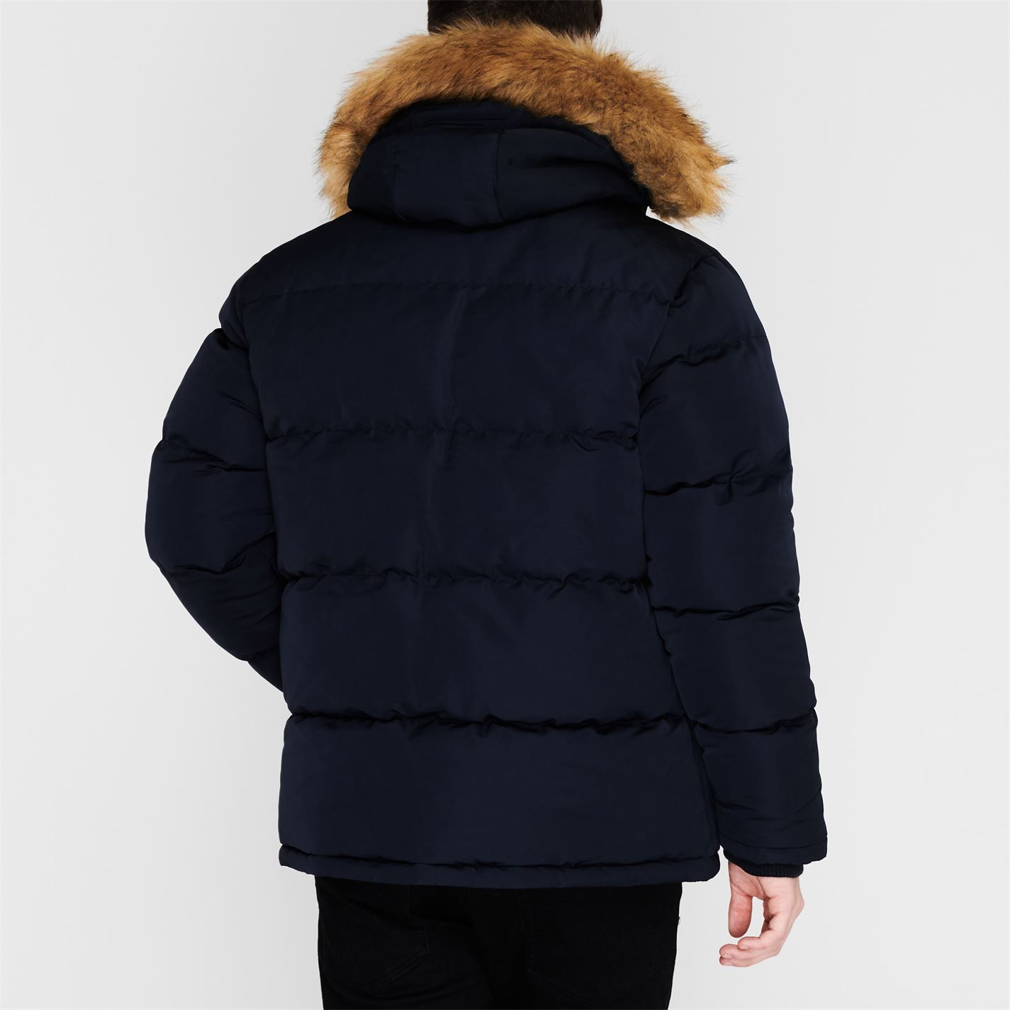 Soulcal Mens 2 Zip Bubble Jacket Outerwear Puffer Faux Hooded Casual Winter Top