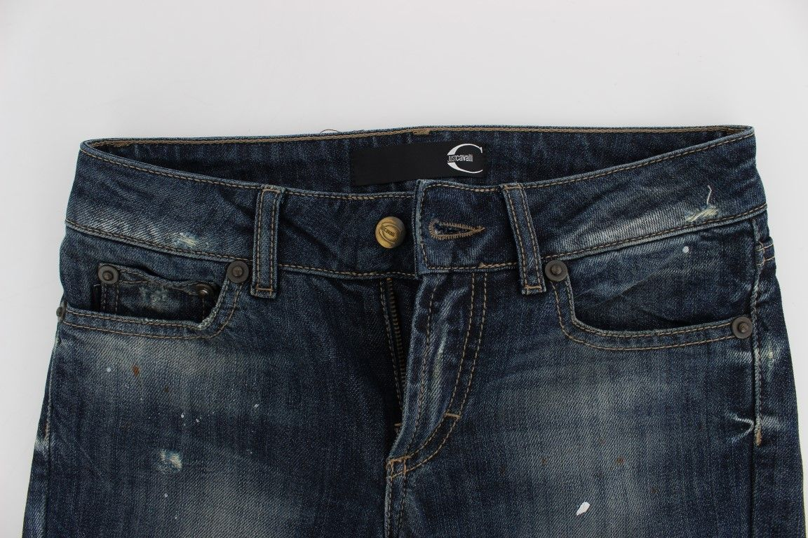 Cavalli Blue Wash Torn Cotton Stretch Jeans