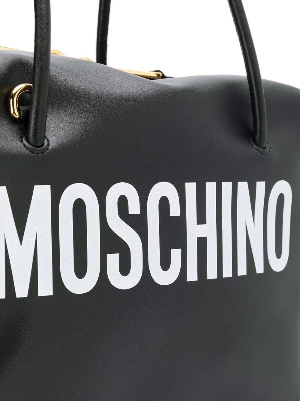 MOSCHINO WOMEN'S A742480011555 BLACK LEATHER SHOULDER BAG