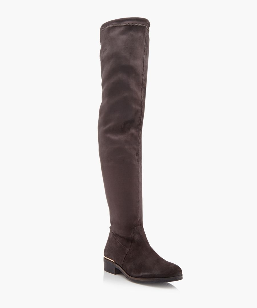 Taliah grey suede over-the-knee boots