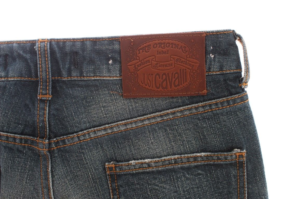 Cavalli Blue Wash Straight Fit Regular Jeans