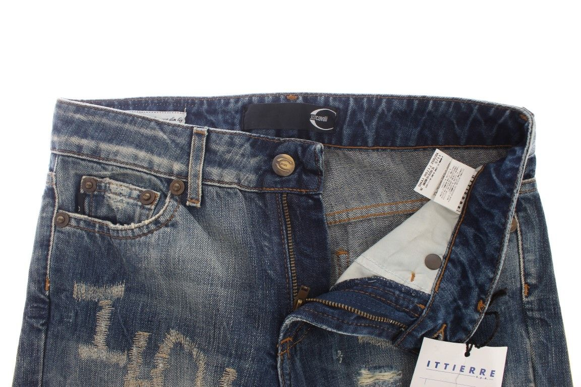 Cavalli Blue Wash Torn Cotton Straight Fit Jeans