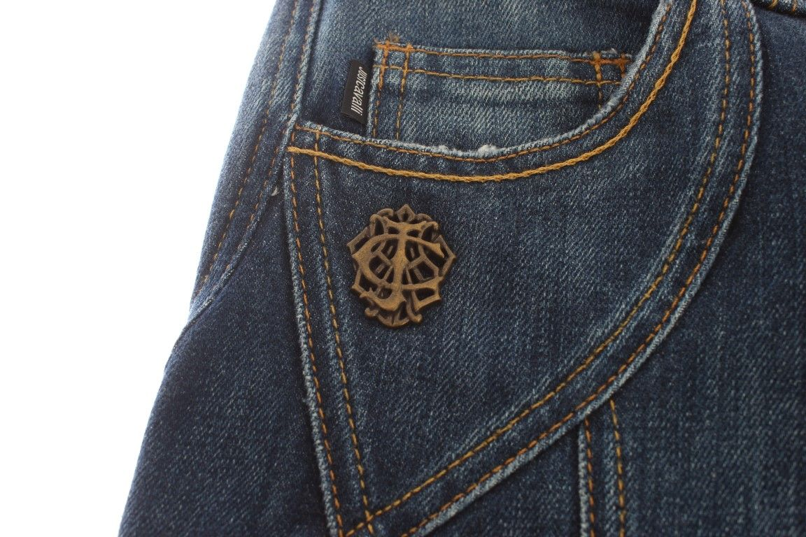 Cavalli Blue Cotton Stretch Low Waist Jeans