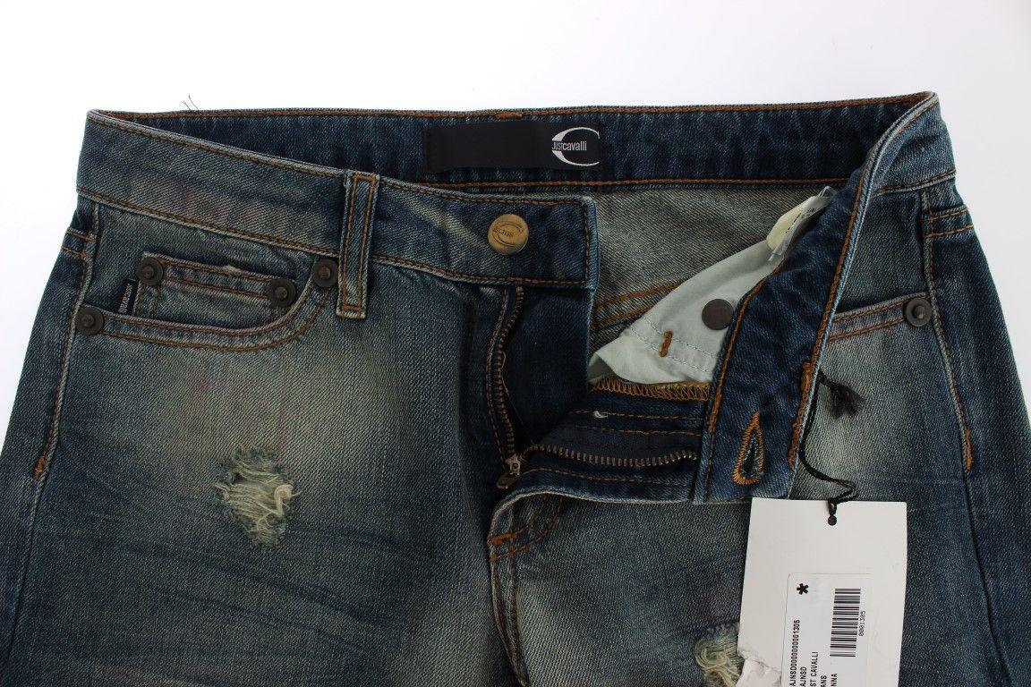 Cavalli Blue Wash Torn Cotton Slim Fit Jeans