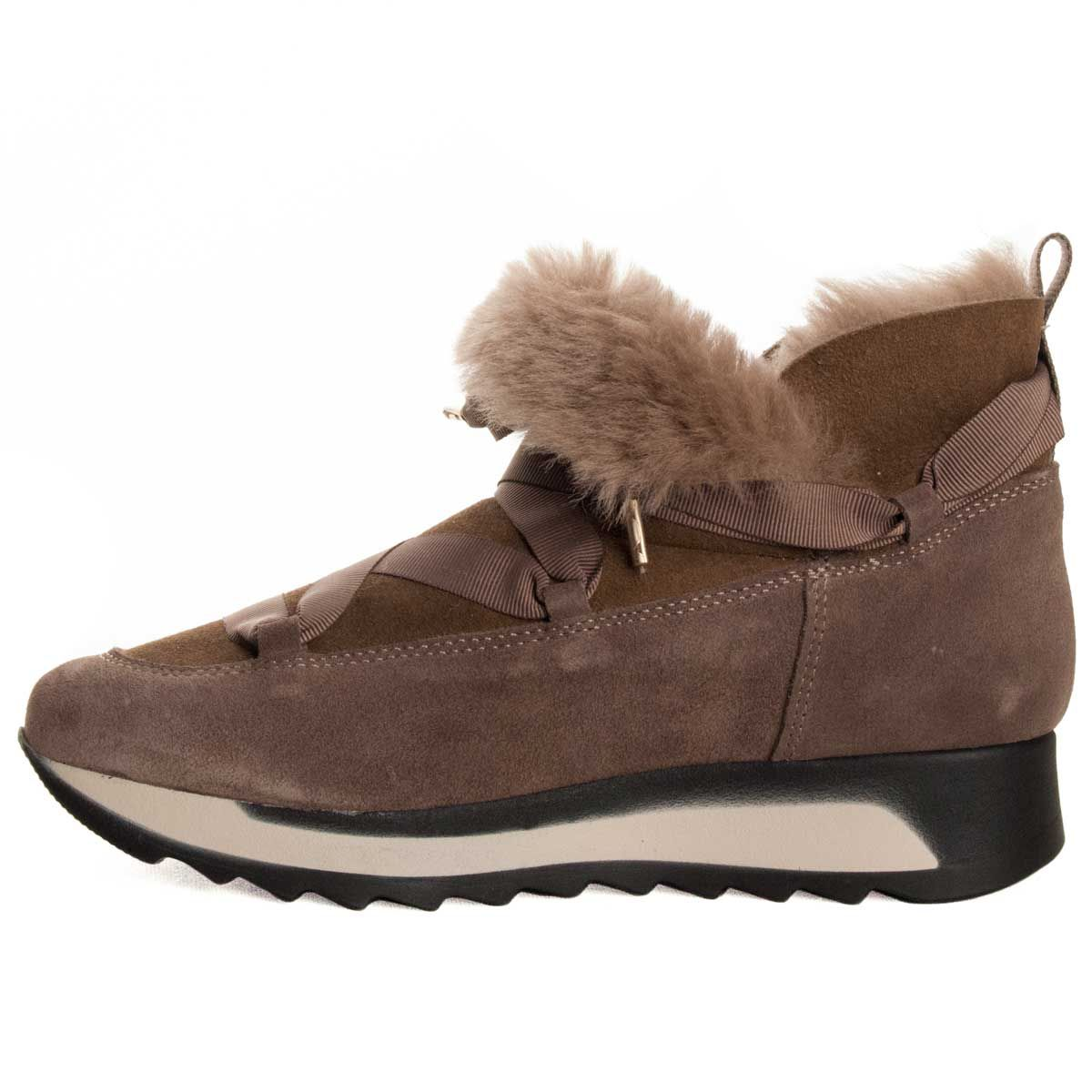 Montevita Fur Lined Sneaker Boot in Beige