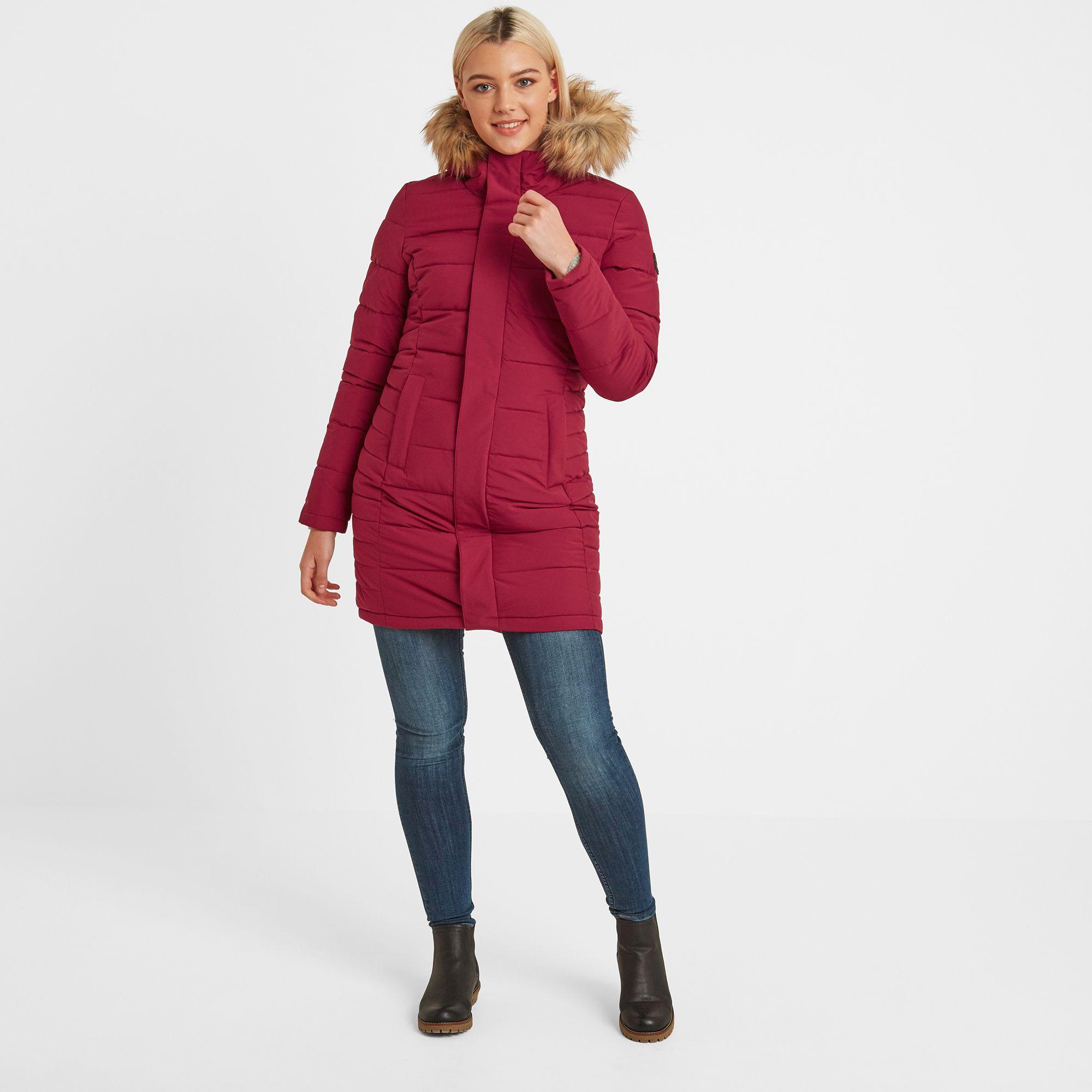 Firbeck Womens Long Insulated Jacket Raspberry