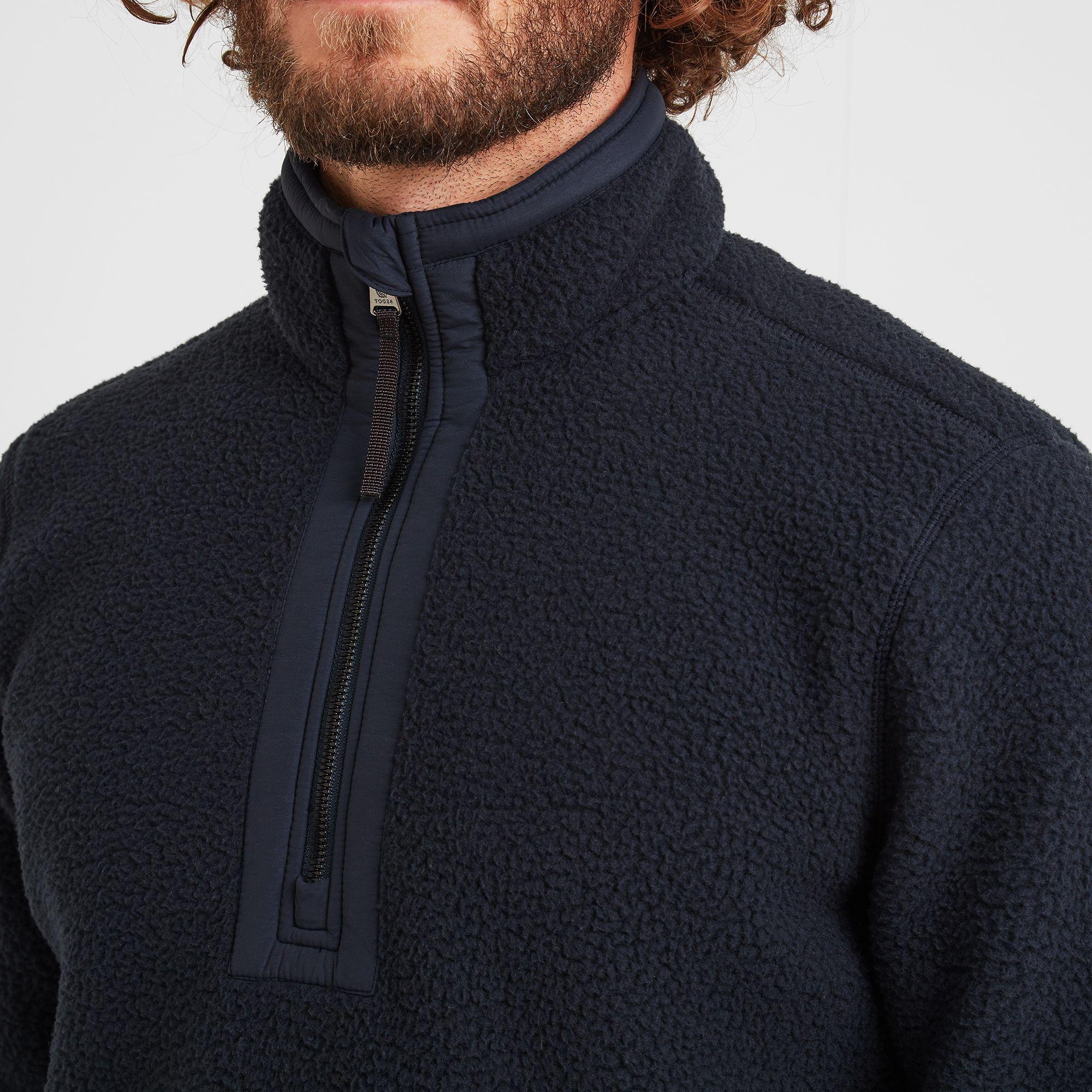 Pollard Mens Sherpa Fleece Zipneck Dark Indigo