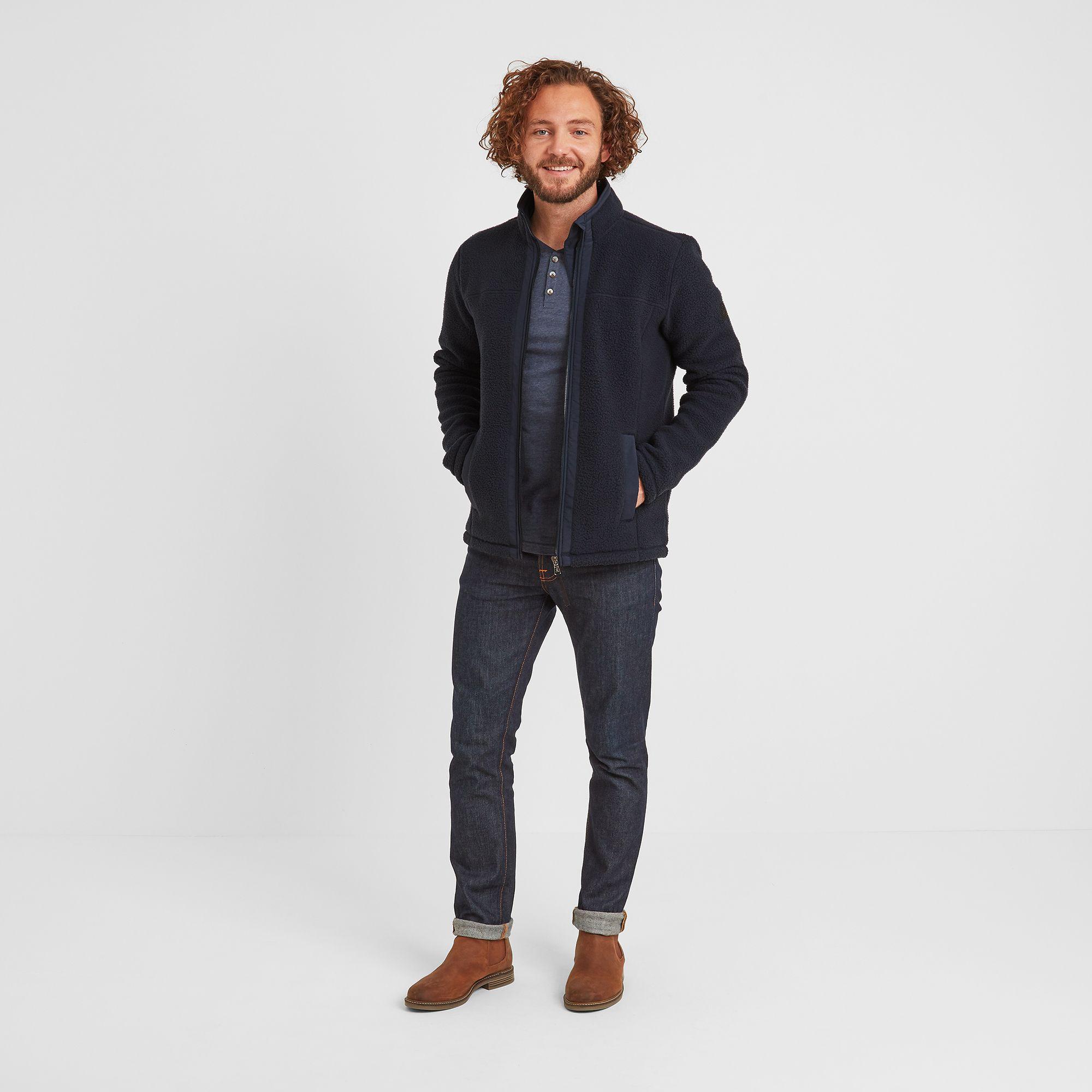 Pyrah Mens Sherpa Fleece Jacket Dark Indigo