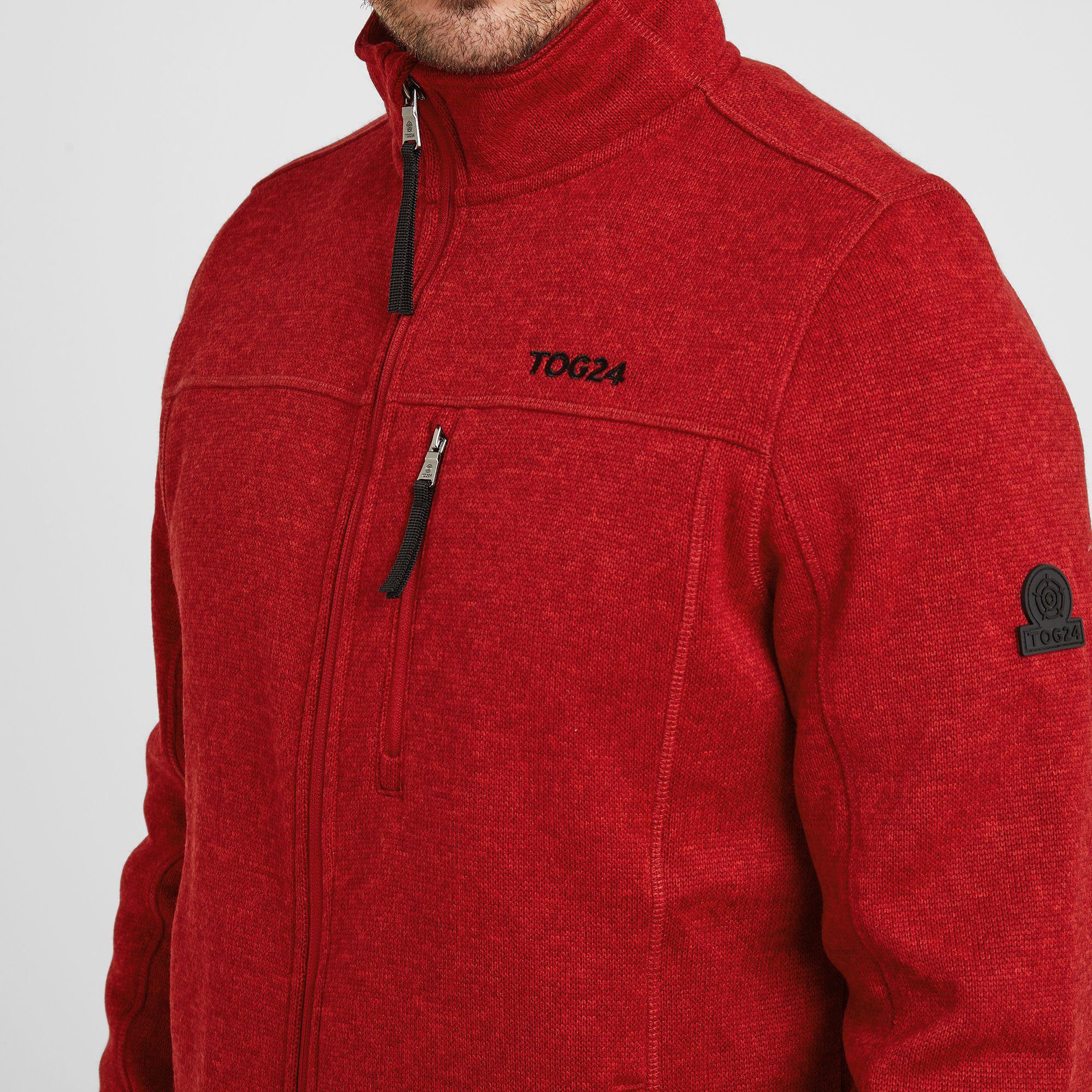 Sedman Mens Knitlook Fleece Jacket Chilli Red