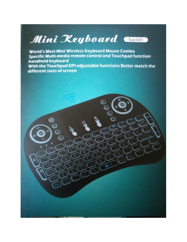 Backlit Mini Wireless Keyboard with Touch Screen and Scroll Wheel.