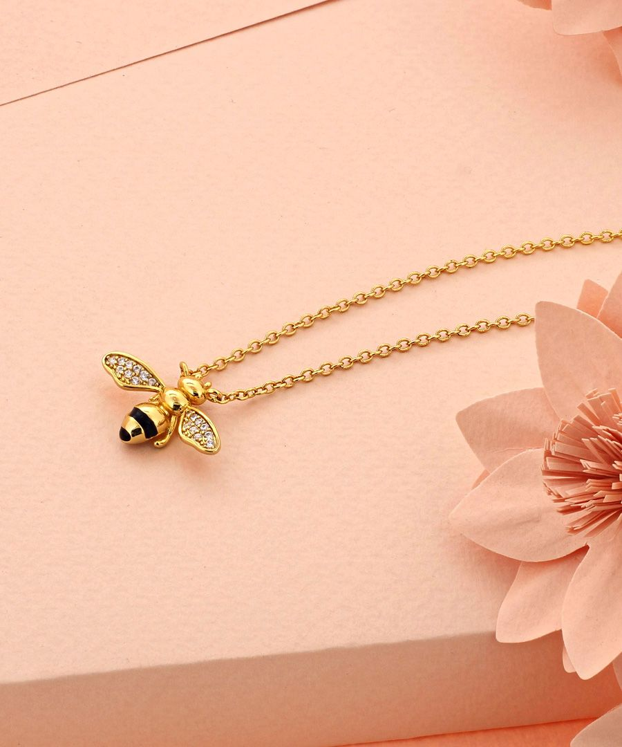 Gold-plated Crystal Bee Pendant