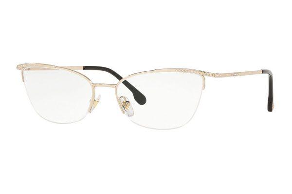 Versace Cat eye metal Women Eyeglasses Pale Gold / Clear Lens