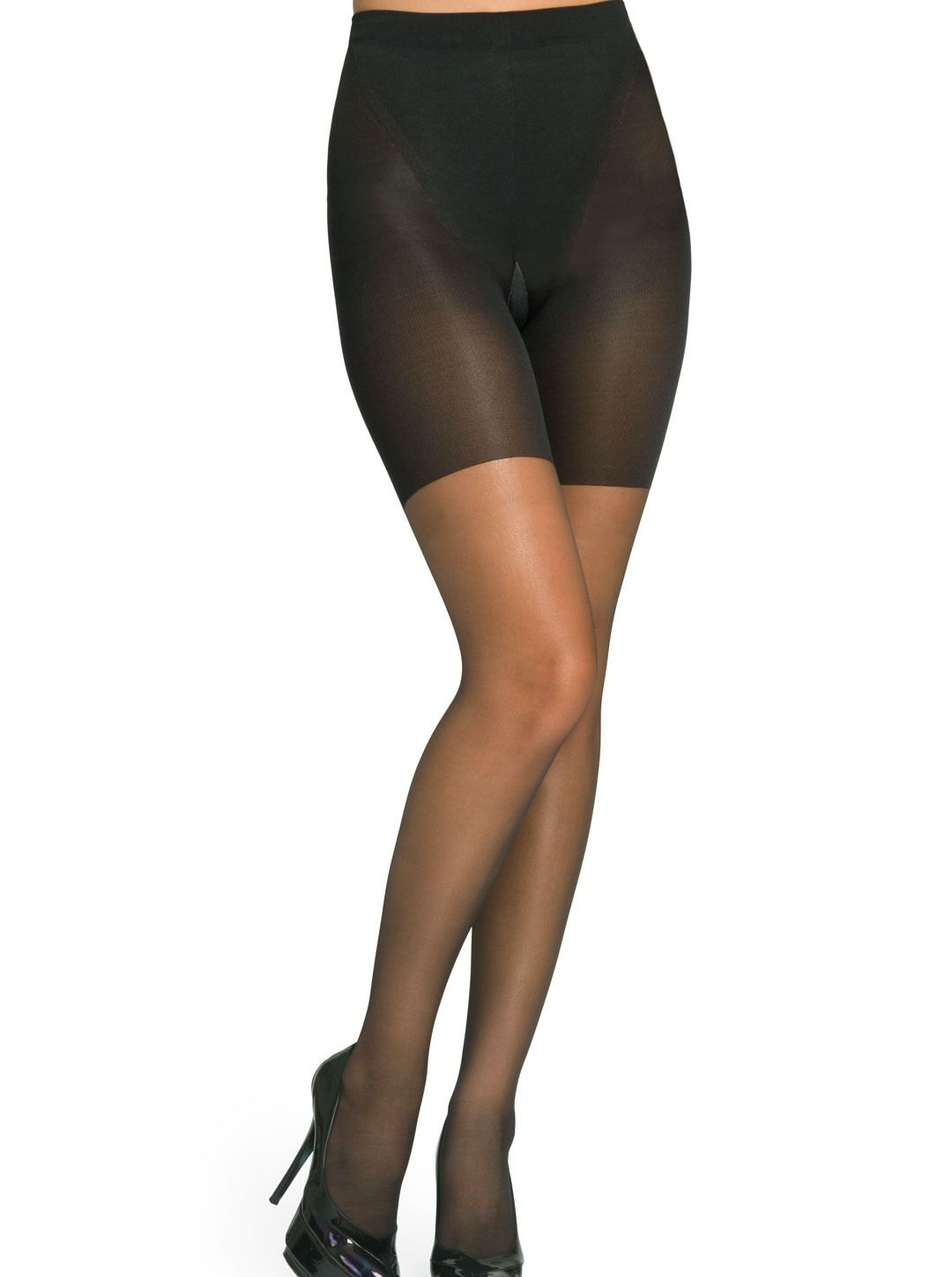 Spanx By Sara Blakely NEW Black Womens Size D Super Shaping Sheer Pantyhose #004