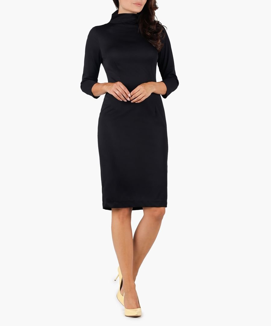 Black high-neck midi dress