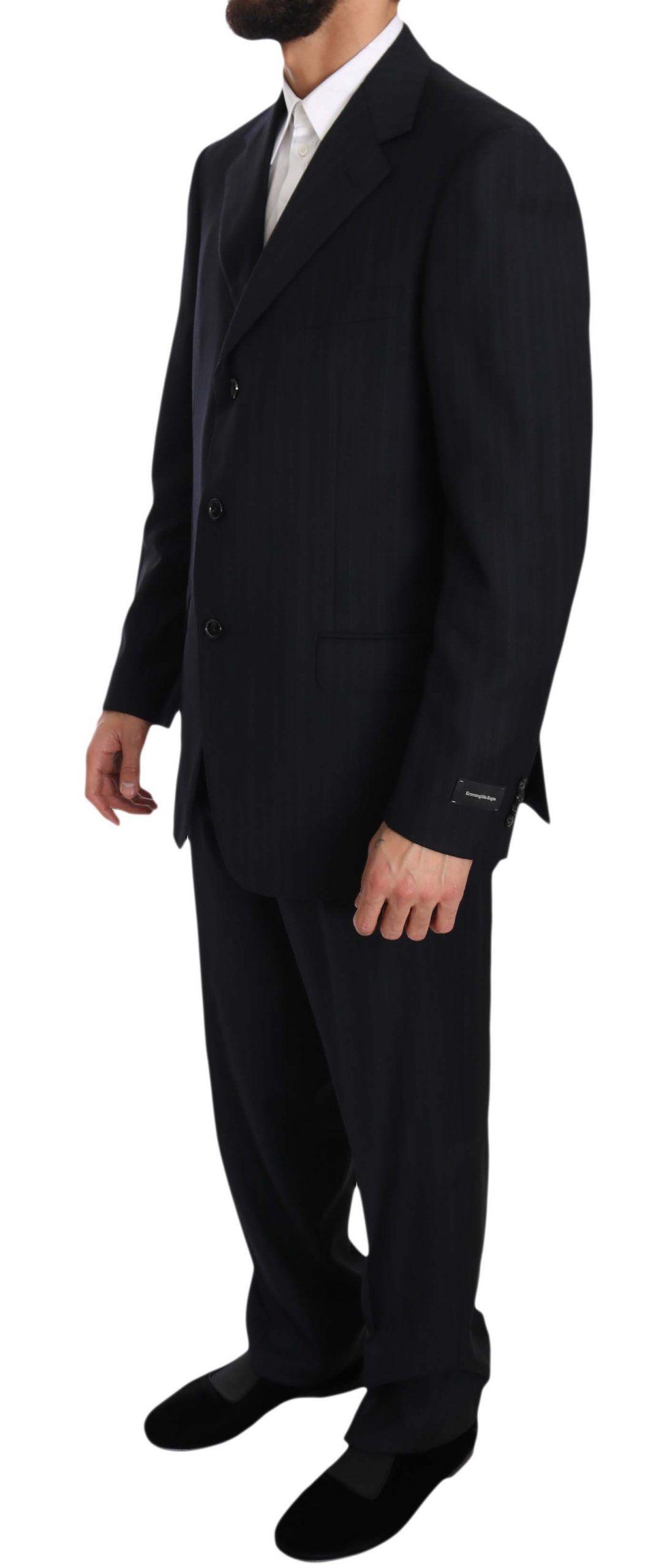 Ermenegildo Zegna Black Stripe Two Piece 3 Button Wool Suit