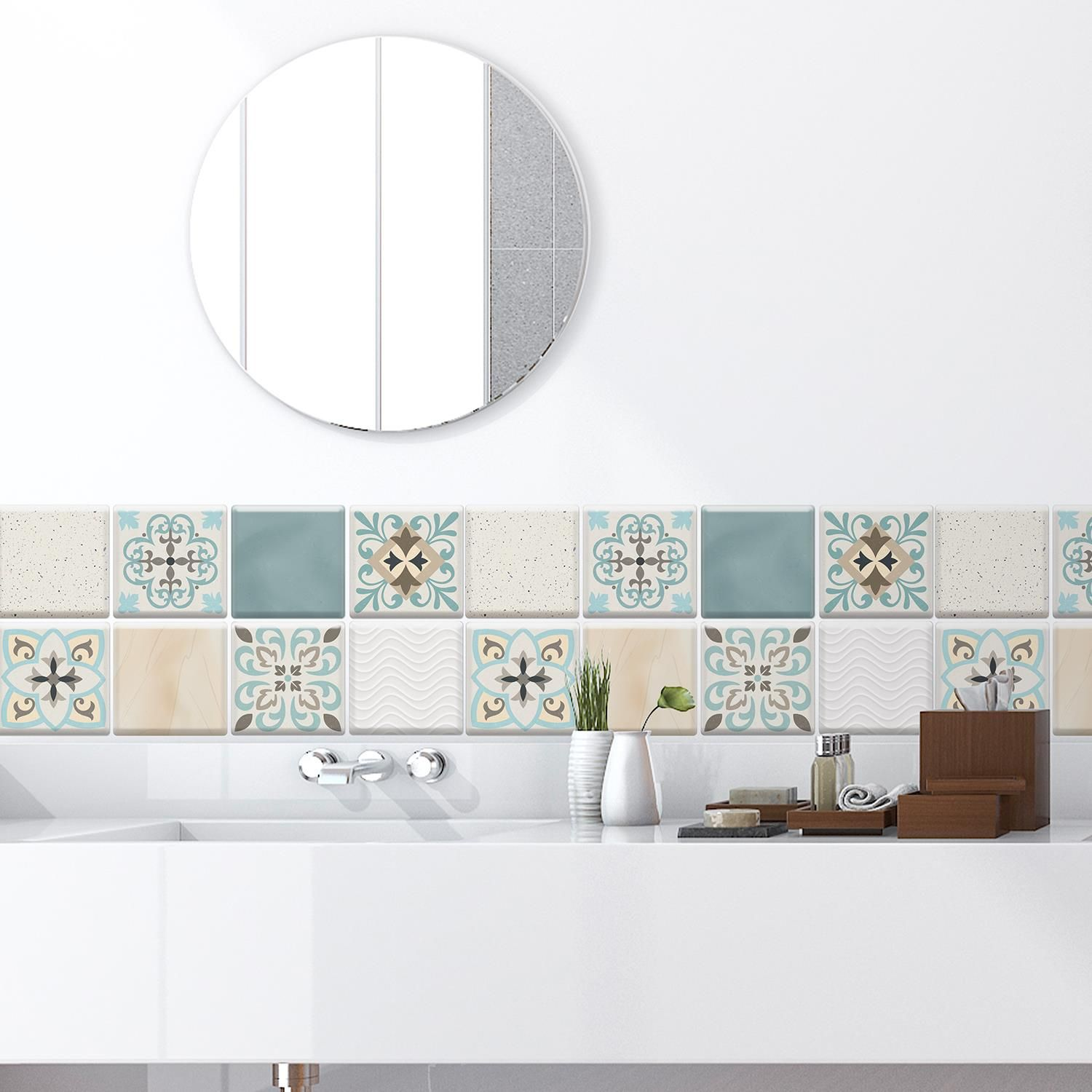 Spanish Retro Mediterranean Crush DIY Self Adhesive Glossy 3D Tile Stickers 15 x 15cm (6in x 6 in) - 16pcs in a pack, 3D Tiles Wall Stickers, Kitchen, Bathroom, Living room, peel and stick
