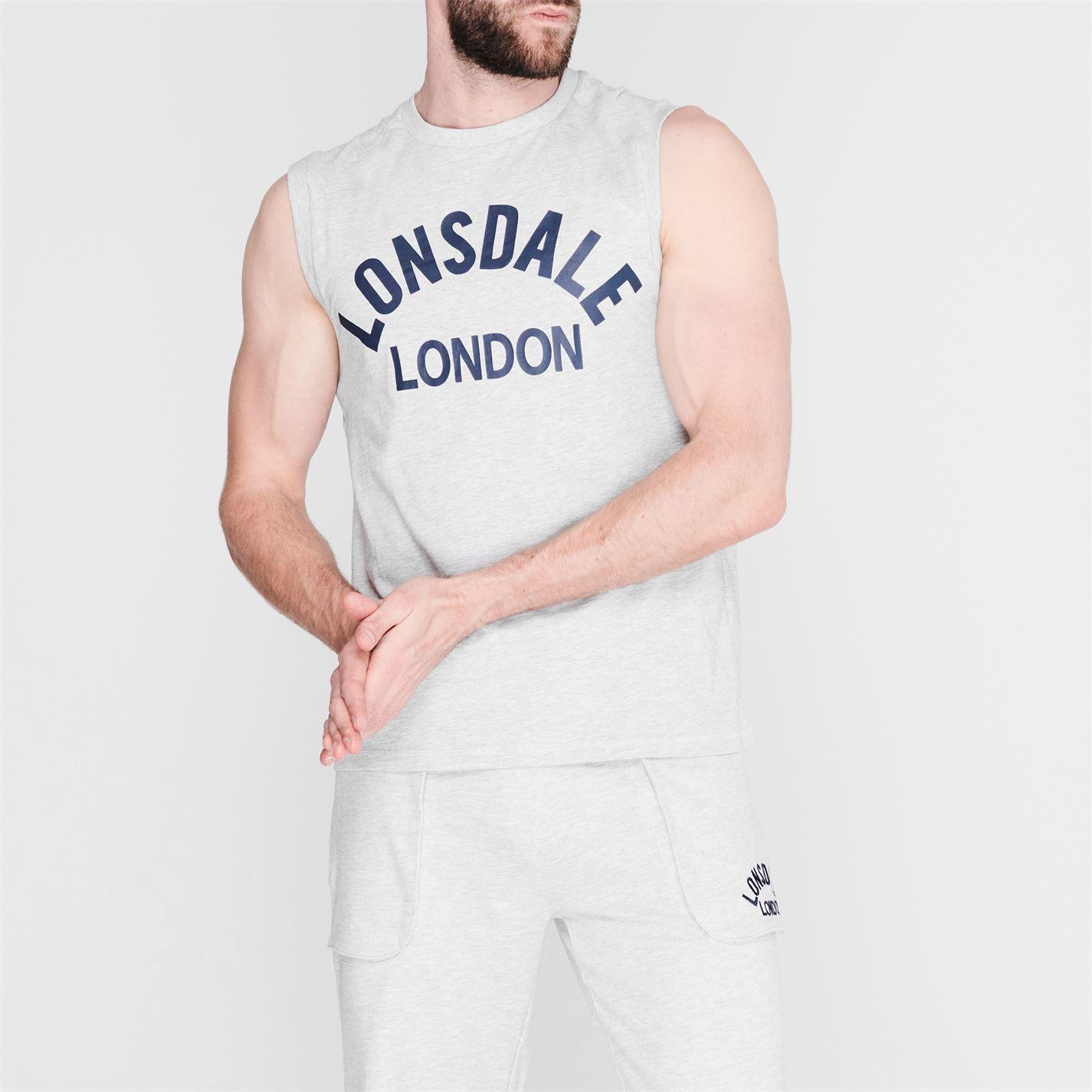 Lonsdale Mens Box Tank Vest Crew Neck Cotton Boxing Sleeveless MMA Sports Top